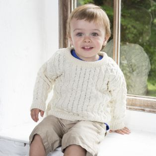 Kids Crew Neck Aran Sweater