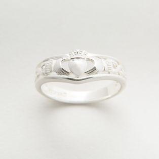 Ladies Sterling Silver Wishbone Claddagh Ring