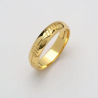 Personalized Ladies 14K Gold Ogham Wedding Band
