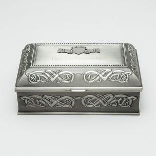 Personalized Mullingar Pewter Antique Jewellery Box