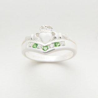 Silver Crystal Claddagh Wishbone Ring