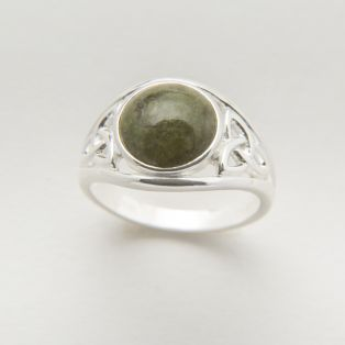 Sterling Silver Connemara Marble Trinity Knot Ring