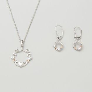 Sterling Silver Heart, Shamrock & Claddagh Earrings & Pendant Jewelry Set