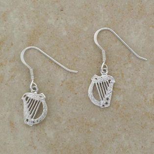 Sterling Silver Irish Harp Earrings