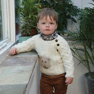 Handknitted Merino Wool Baby Button Crew Neck Sweater
