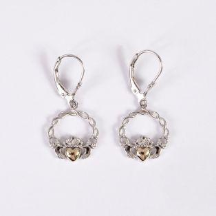 10k Gold & Silver Claddagh Drop Earrings