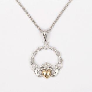 10k Gold & Silver Claddagh Pendant