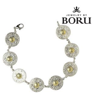 Boru Sterling Silver Celtic Gold Warrior Bracelet with 18k Bead