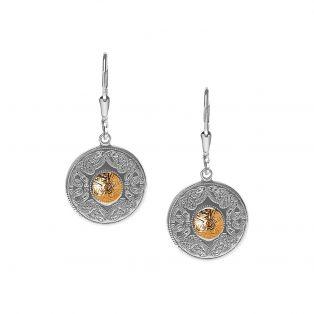 Silver/18k Gold Celtic Warrior Shield Earrings