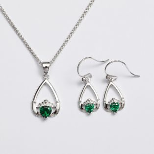 Claddagh Birthstone Pendant & Earrings Set