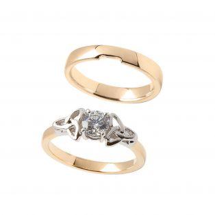 Trinity Diamond Engagement & Wedding Ring Set ENG6 MWB006 Size 4