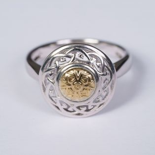 Solstice Celtic Knot Ring with 18K Gold Bead