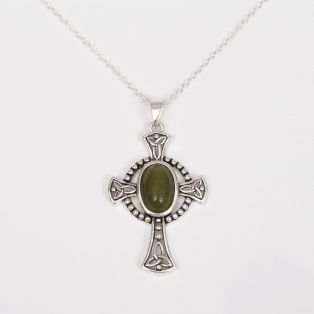 Celtic Cross with Oval Connemara Marble Stone