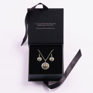 Connemara Marble Round  Celtic Earrings & Pendant Set