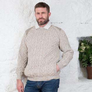 Tweed Shoulder Merino Crew Neck Sweater