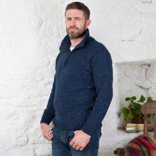 Donegal Wool Irish  Zipper Sweater