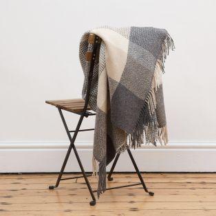 Foxford Cashmere Merino Grey White Camel Herringbone Blanket