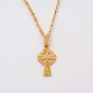 10k Gold Celtic Irish Cross Pendant