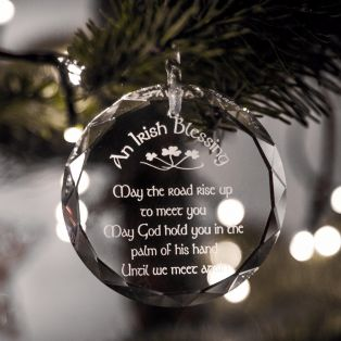 Galway Crystal Hanging Irish Blessing Ornament