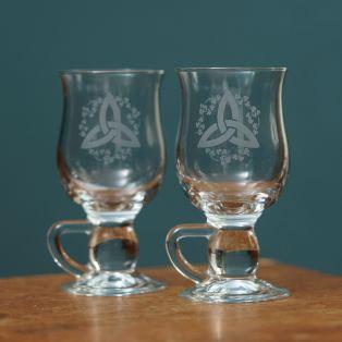 Galway Crystal Shamrock Latte Glasses