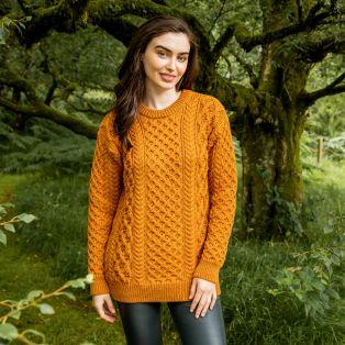 Golden Ochre Blasket Honeycomb Stitch Sweater
