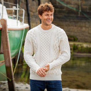 Mens Blasket claret Aran Sweater