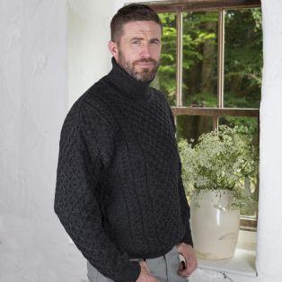 Mens Aran Turtleneck Sweaters