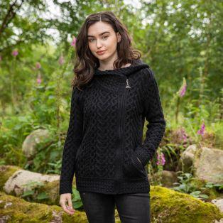 Women's Kilkenny Black Aran Hooded Cardigan