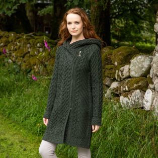 Women's Army Green Claddagh Aran Zipper Coat