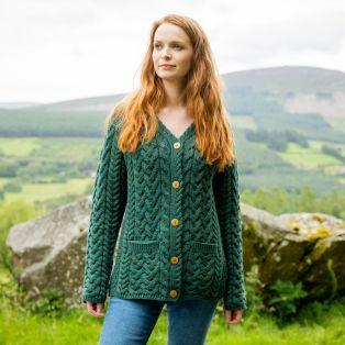 Ladies Forest Green Moher Aran Cardigan