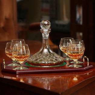 Galway Crystal Longford Brandy Decanter & 6 Glasses Tray Set
