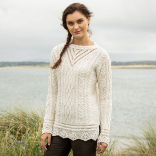 Lismore Sky Aran Tunic Sweater