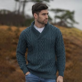 Men's Bunratty Charcoal Shawl Collar Aran Sweater