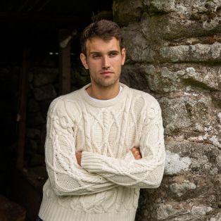 Mens Clifden Aran Sweater by Paul Costelloe