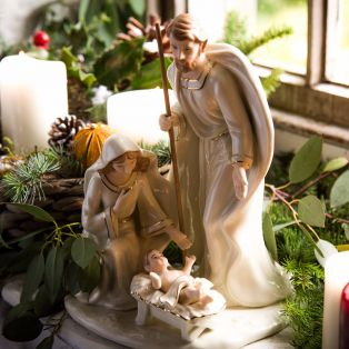 Large Belleek Family Nativity Figurine