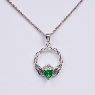 Silver Green Stone Claddagh Pendant