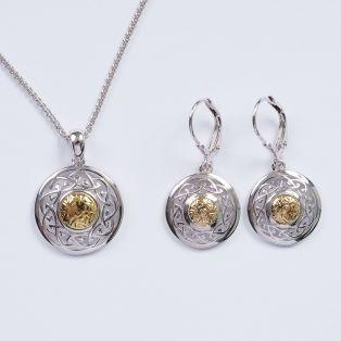 Silver Solstice Celtic Knot Pendant  & Earrings Set