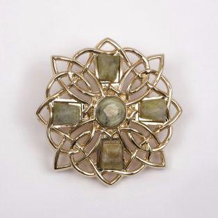 Connemara Marble Cross Brooch