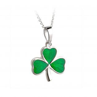 Irish Sterling Silver Enamel Shamrock Large Pendant