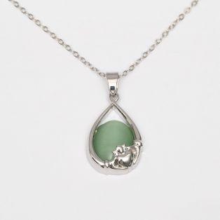 Celtic Green Cats Eye Claddagh Pendant