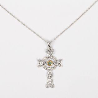 Diamond & Emerald Celtic Cross Pendant