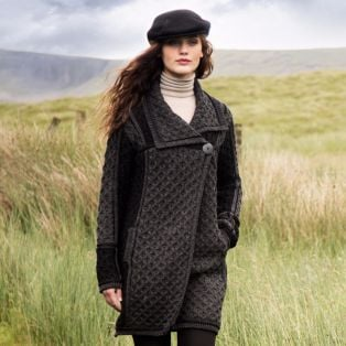 stylish one button aran coat for ladies