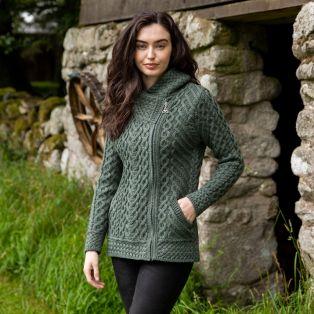 Women's Kilkenny Tundra Aran Hooded Cardigan