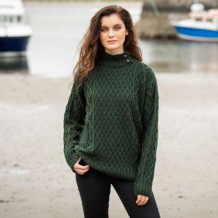 Womens Glengarriff Green Aran Sweater