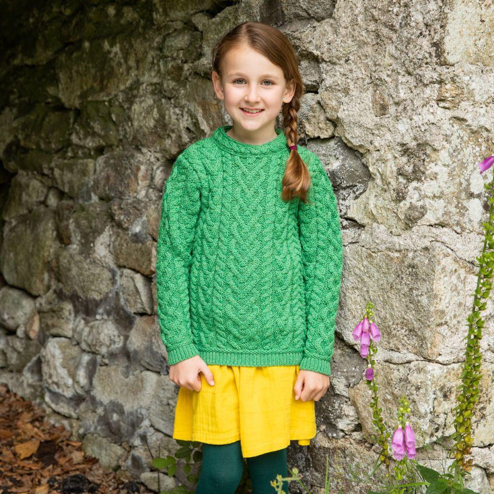 Girls Aran sweater St. Patrick's Day Gift