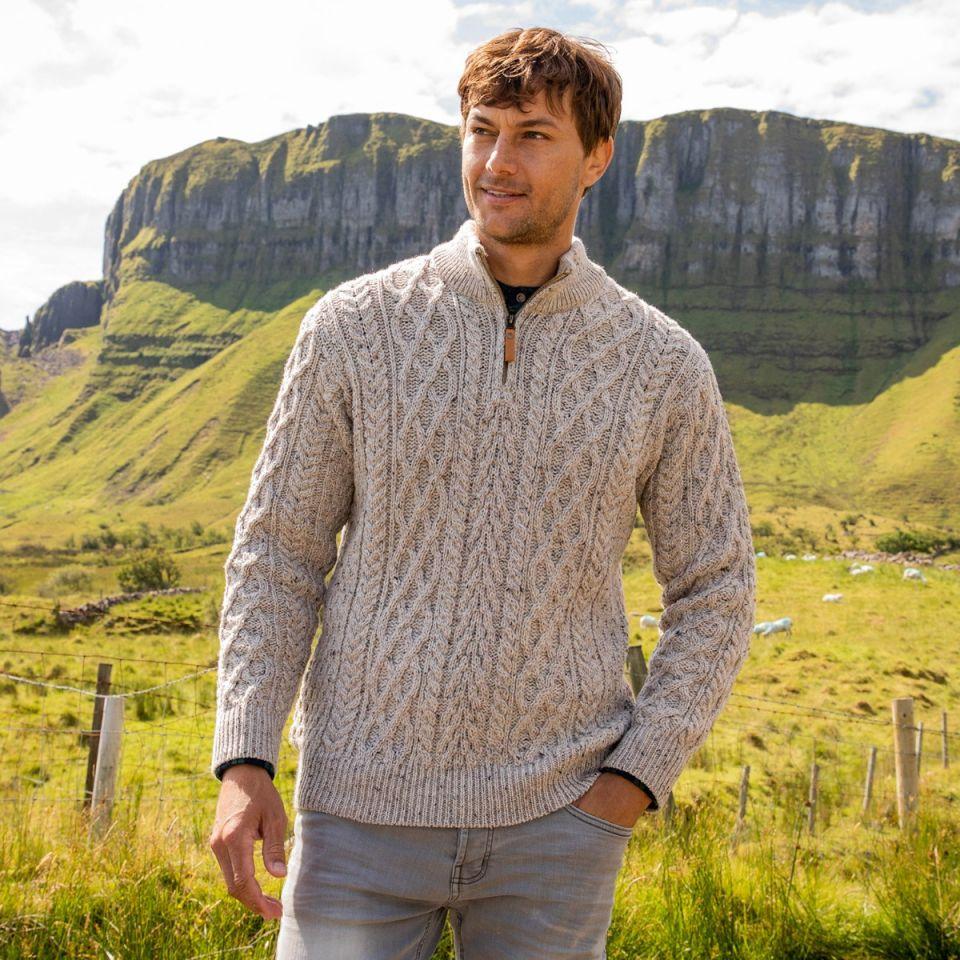 Fathers Day Half Zip Aran Sweater