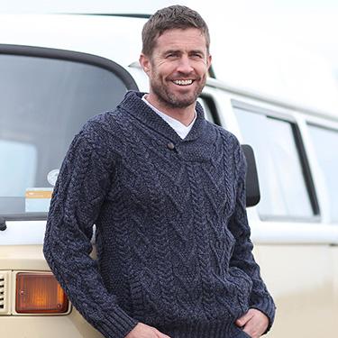 warm & stylish v-neck aran sweater
