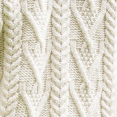 handknitted v-neck aran sweater