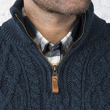 Snug and Stylish Half Zip Aran Sweater